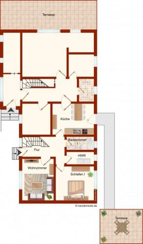 Grundriss (Erdgeschoss) – Ferienhaus Carl