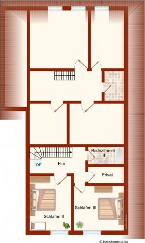 Grundriss (Obergeschoss) – Ferienhaus Carl