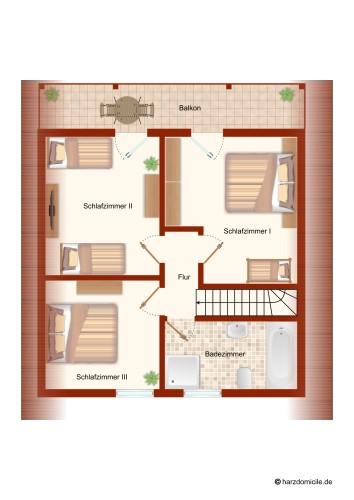 Grundriss (Obergeschoss) - Ferienhaus Huckla