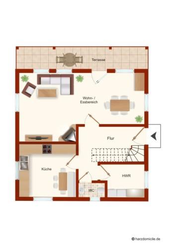 Grundriss (Erdgeschoss) – Ferienhaus Huckla