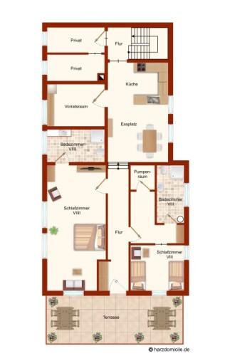 Grundriss (1. Ebene)  – Gruppenhaus Heine
