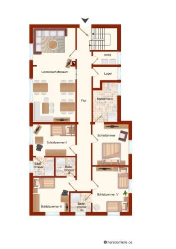 Grundriss (2. Ebene)  – Gruppenhaus Heine