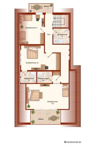 Grundriss (3. Ebene)  – Gruppenhaus Heine