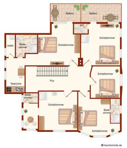 Grundriss (Obergeschoss) – Gruppenhaus Fernblick