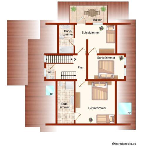 Grundriss (Dachgeschoss) – Gruppenhaus Fernblick