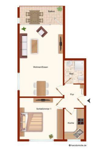Grundriss – Harz-Suite 1