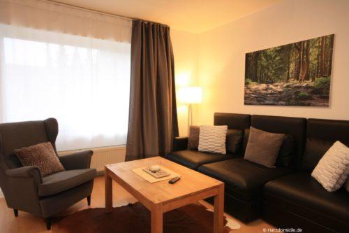 Wohn- /Essbereich mit Schlafcouch und offener Küche - Ferienwohnung Lieblingsort