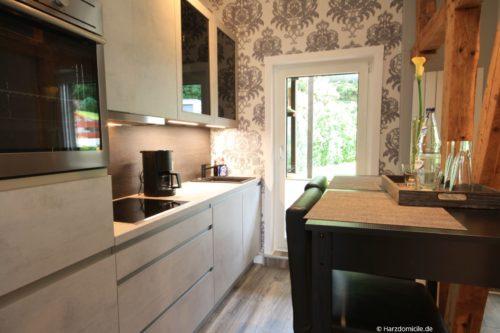 Wohn- /Essbereich mit offener Küche – Ferienwohnung Bergprinz