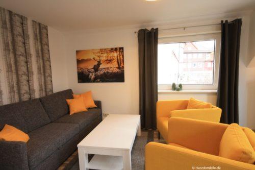 Wohnbereich mit Schlafcouch – Ferienwohnung Hexenbaude