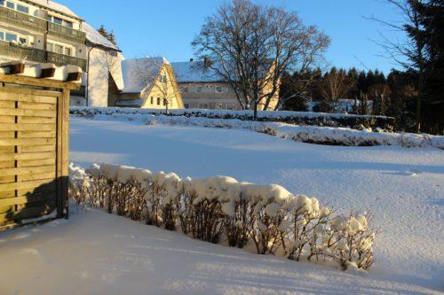 Terrasse im Winter – Ferienwohnung Bergparadies