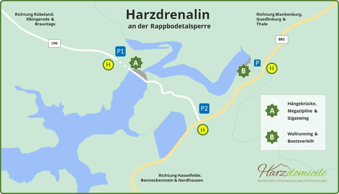 Anfahrt zu den Parkplätzen für Aktivitäten von Harzdrenalin an der Rappbodetalsperre und der Talsperre Wendefurth. Dort befindet sich die Hängebrücke Titan RT, die Megazipline, der Gigaswing, dass Wallrunning und ein externer Bootsverleih mit Floßfahrten. Parken kann man auf den Parkplätzen P1 und P2 sowie in Wendefurth. Haltestellen für den Bus/ÖPNV sind ebenfalls dargestellt.