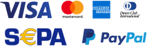 Zahlbar mit Visa, Mastercard, American Express, Diners Club International, Sepa Überweisung und PayPal.